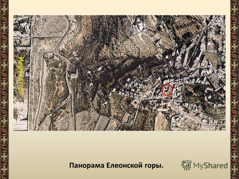 Панорама Елеонской горы. Колокольня «Русская свеча» Место Вознесения