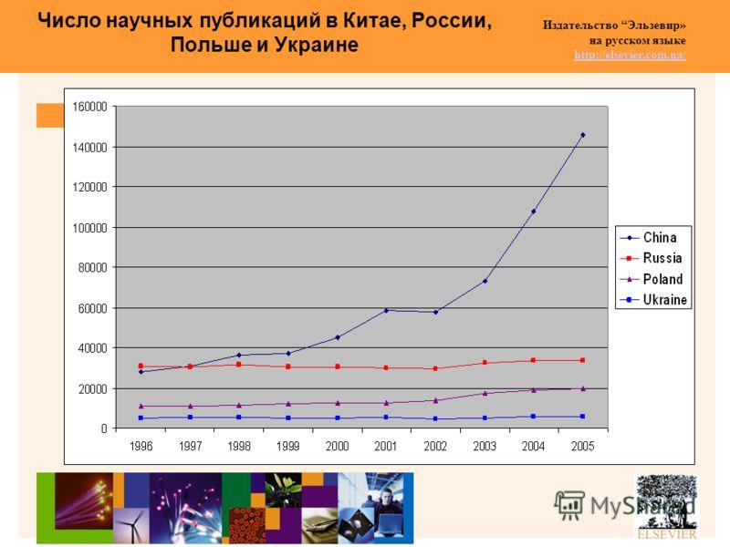 Издательство Эльзевир» на русском языке http://elsevier.com.ua/ http://elsevier.com.ua/ Число научных публикаций в Китае, России, Польше и Украине