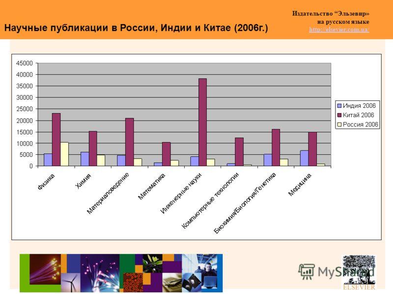 Издательство Эльзевир» на русском языке http://elsevier.com.ua/ http://elsevier.com.ua/ Научные публикации в России, Индии и Китае (2006г.)