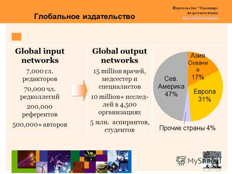 Издательство Эльзевир» на русском языке http://elsevier.com.ua/ http://elsevier.com.ua/ Глобальное издательство Global input networks 7,000 гл. редакторов 70,000 чл. редколлегий 200,000 референтов 500,000+ авторов Global output networks 15 million вр