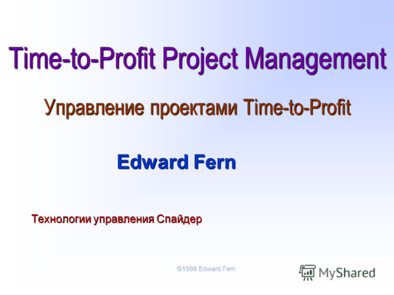 Time-to-Profit Project Management Управление проектами Time-to-Profit