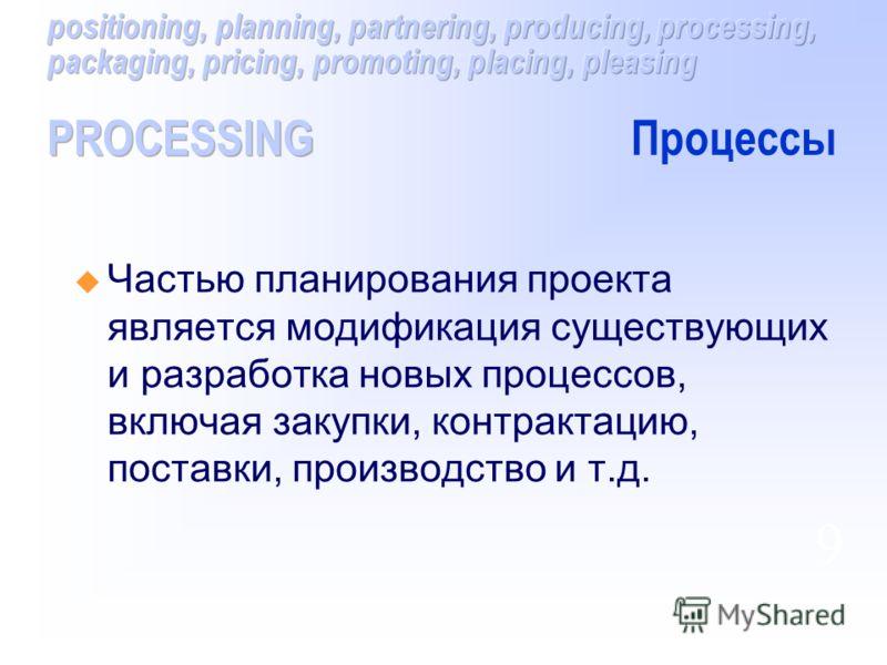 Частью планирования проекта является модификация существующих и разработка новых процессов, включая закупки, контрактацию, поставки, производство и т.д. 9