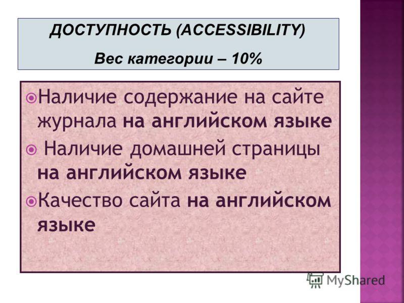 Наличие содержание на сайте журнала на английском языке Наличие домашней страницы на английском языке Качество сайта на английском языке ДОСТУПНОСТЬ (ACCESSIBILITY) Вес категории – 10%