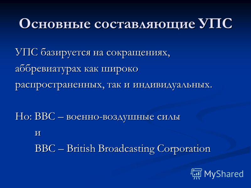 Основные составляющие УПС УПС базируется на сокращениях, аббревиатурах как широко распространенных, так и индивидуальных. Но: ВВС – военно-воздушные силы и ВВС – British Broadcasting Corporation ВВС – British Broadcasting Corporation