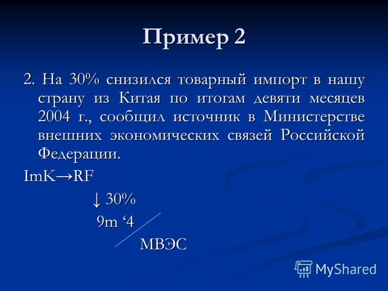 Пример 2 2. На 30% снизился товарный импорт в нашу страну из Китая по итогам девяти месяцев 2004 г., сообщил источник в Министерстве внешних экономических связей Российской Федерации. ImKRF 30% 30% 9m 4 9m 4 МВЭС МВЭС
