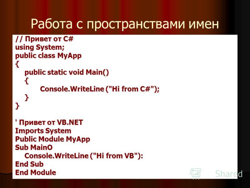 Работа с пространствами имен // Привет от С# using System; public class MyApp { public static void Main() { Console.WriteLine (