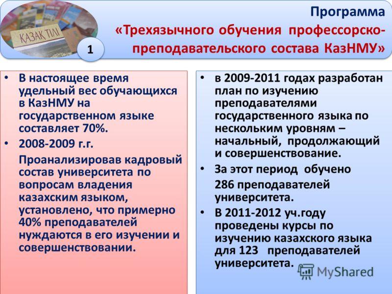 В настоящее время удельный вес обучающихся в КазНМУ на государственном языке составляет 70%. 2008-2009 г.г. Проанализировав кадровый состав университета по вопросам владения казахским языком, установлено, что примерно 40% преподавателей нуждаются в е