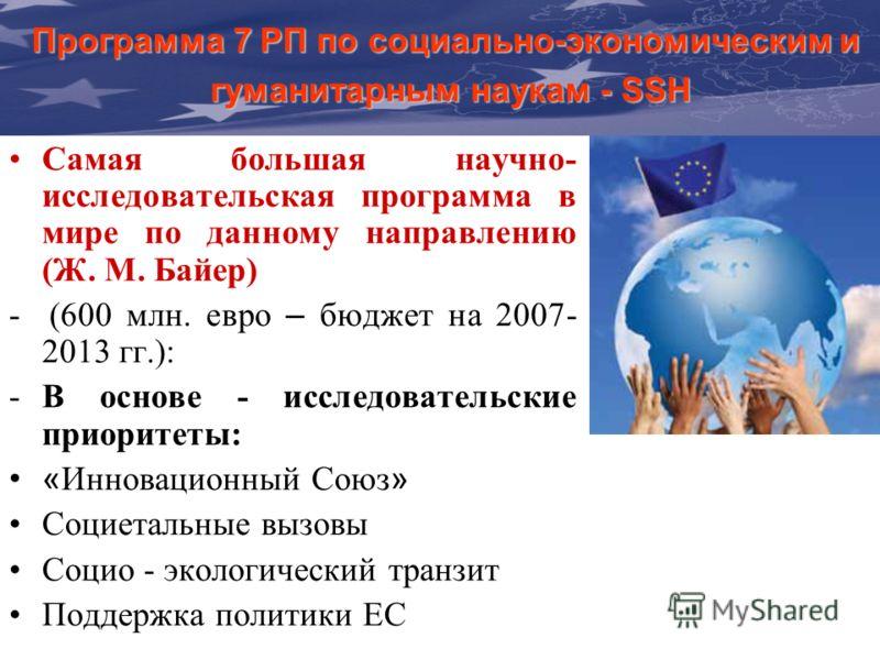 The Communication & Visibility Manual For External Actions Программа 7 РП по социально-экономическим и гуманитарным наукам - SSH Самая большая научно- исследовательская программа в мире по данному направлению (Ж. М. Байер) - (600 млн. евро – бюджет н