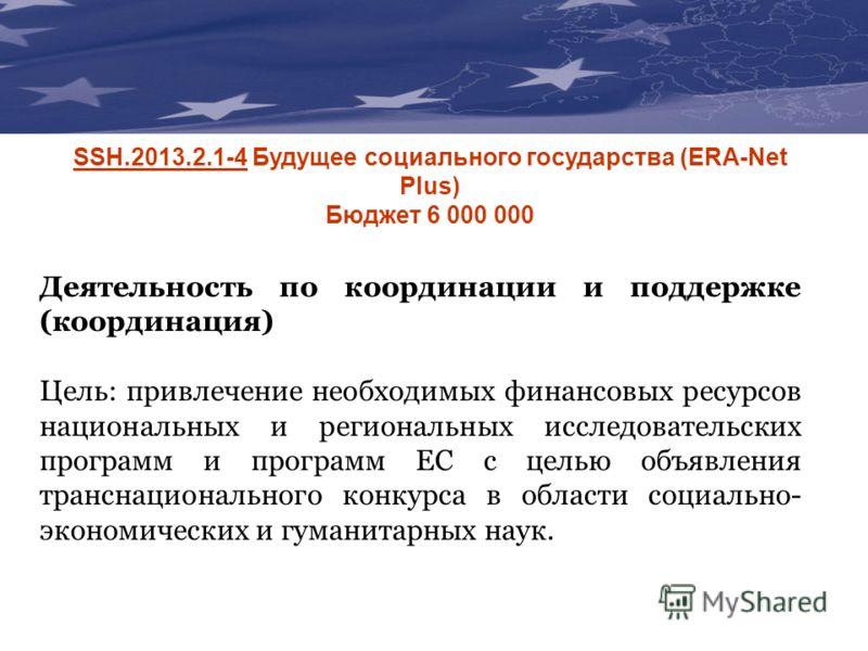 The Communication & Visibility Manual For External Actions SSH.2013.2.1-4 Будущее социального государства (ERA-Net Plus) Бюджет 6 000 000 Деятельность по координации и поддержке (координация) Цель: привлечение необходимых финансовых ресурсов национал