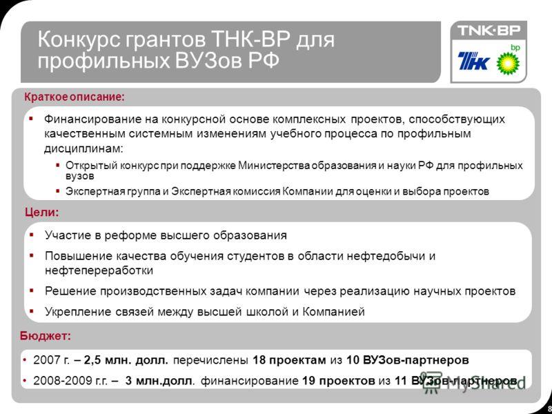 8 8 Конкурс грантов ТНК-BP для профильных ВУЗов РФ Бюджет: Финансирование на конкурсной основе комплексных проектов, способствующих качественным системным изменениям учебного процесса по профильным дисциплинам: Открытый конкурс при поддержке Министер