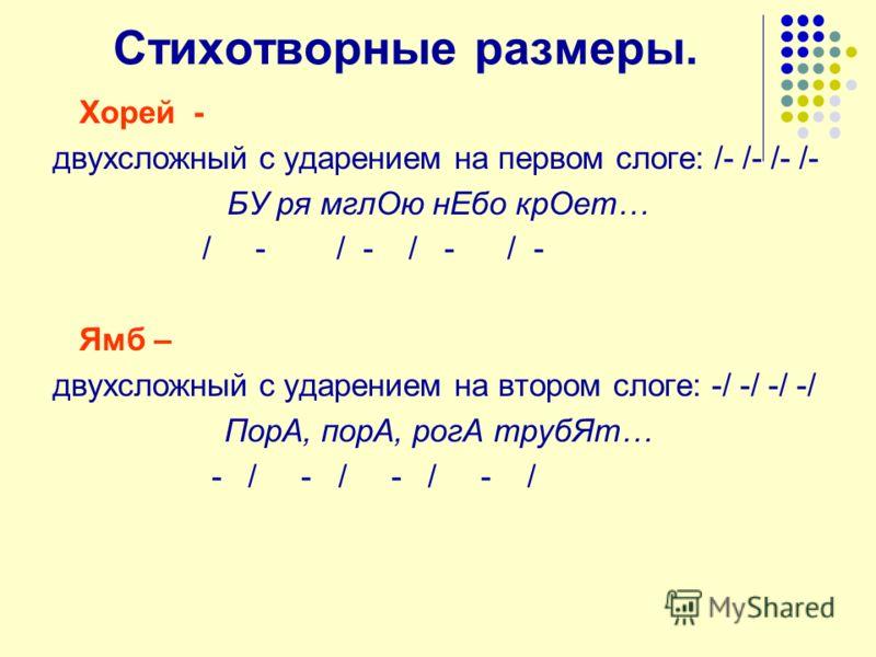 Стихотворные размеры. Хорей - двухсложный с ударением на первом слоге: /- /- /- /- БУ ря мглОю нЕбо крОет… / - / - / - / - Ямб – двухсложный с ударением на втором слоге: -/ -/ -/ -/ ПорА, порА, рогА трубЯт… - / - / - / - /