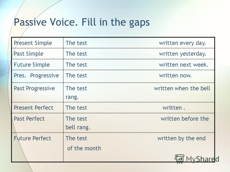 Passive Voice. Fill in the gaps Present SimpleThe test written every day. Past SimpleThe test written yesterday. Future SimpleThe test written next week. Pres. ProgressiveThe test written now. Past Progressive The test written when the bell rang. Pre