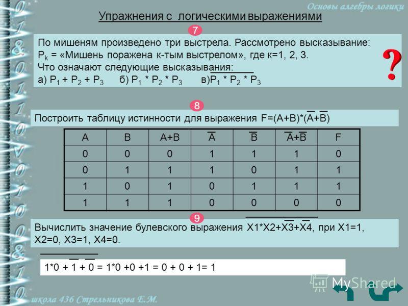 Упражнения c логическими выражениями По мишеням произведено три выстрела. Рассмотрено высказывание: P k = «Мишень поражена к-тым выстрелом», где к=1, 2, 3. Что означают следующие высказывания: а) P 1 + P 2 + P 3 б) P 1 * P 2 * P 3 в)P 1 * P 2 * P 3 7