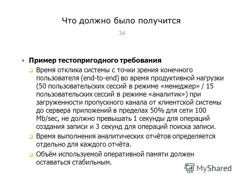 Что должно было получится 34 Пример тестопригодного требования Время отклика системы с точки зрения конечного пользователя (end-to-end) во время продуктивной нагрузки (50 пользовательских сессий в режиме «менеджер» / 15 пользовательских сессий в режи