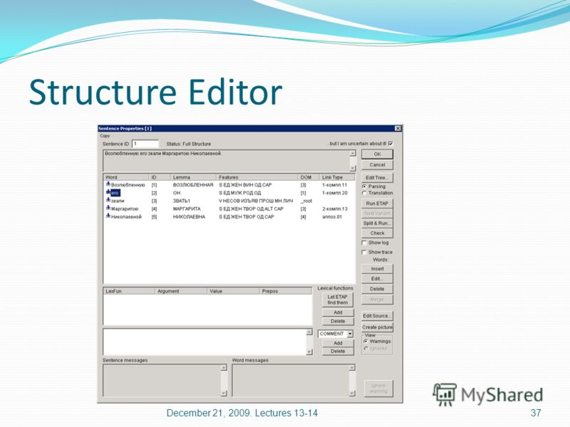 Structure Editor 37December 21, 2009. Lectures 13-14