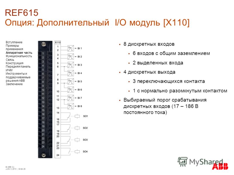 © ABB Oy June 3, 2013 | Slide 25 REF615 Опция: Дополнительный I/O модуль [X110] 8 дискретных входов 6 входов с общим заземлением 2 выделенных входа 4 дискретных выхода 3 переключающихся контакта 1 с нормально разомкнутым контактом Выбираемый порог ср