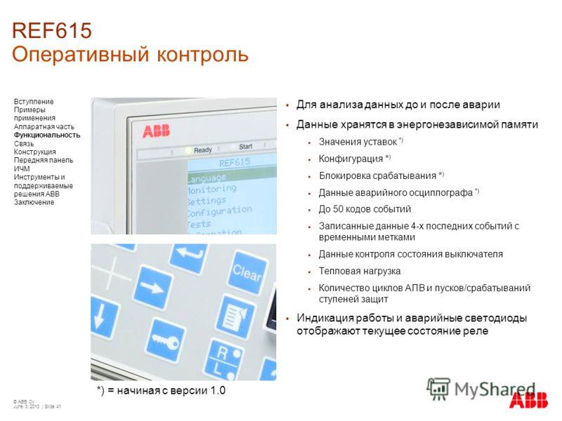 © ABB Oy June 3, 2013 | Slide 41 *) = начиная с версии 1.0 REF615 Оперативный контроль Для анализа данных до и после аварии Данные хранятся в энергонезависимой памяти Значения уставок *) Конфигурация * ) Блокировка срабатывания * ) Данные аварийного