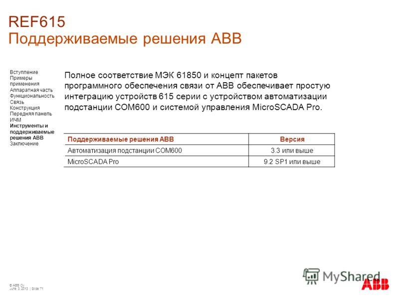 © ABB Oy June 3, 2013 | Slide 71 REF615 Поддерживаемые решения АВВ Поддерживаемые решения АВВВерсия Автоматизация подстанции COM6003.3 или выше MicroSCADA Pro9.2 SP1 или выше Полное соответствие МЭК 61850 и концепт пакетов программного обеспечения св