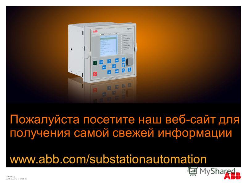 © ABB Oy June 3, 2013 | Slide 80 Пожалуйста посетите наш веб-сайт для получения самой свежей информации www.abb.com/substationautomation
