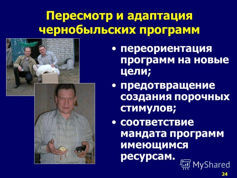 24 Пересмотр и адаптация чернобыльских программ переориентация программ на новые цели; предотвращение создания порочных стимулов; соответствие мандата программ имеющимся ресурсам.