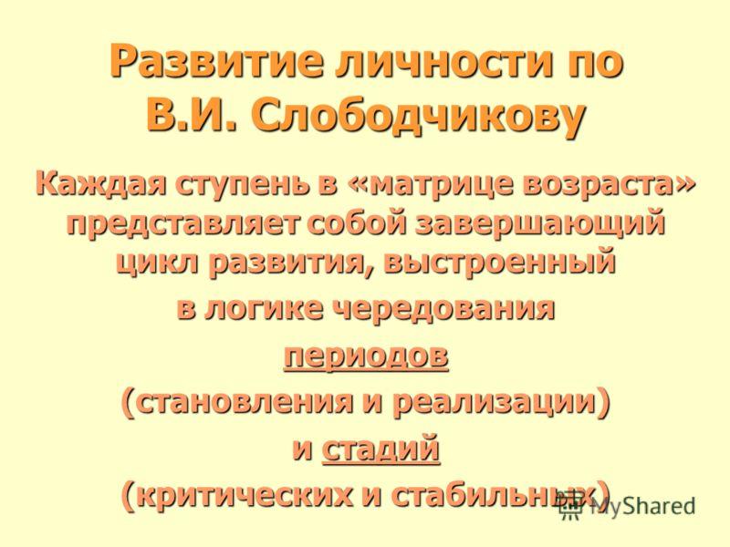 Развитие личности по В.И. Слободчикову Каждая ступень в «матрице возраста» представляет собой завершающий цикл развития, выстроенный в логике чередования периодов (становления и реализации) и стадий (критических и стабильных)