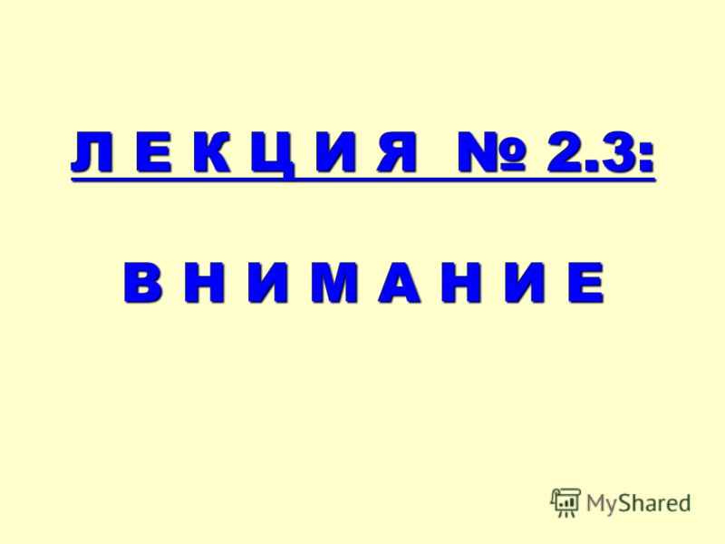 Л Е К Ц И Я 2.3: В Н И М А Н И Е