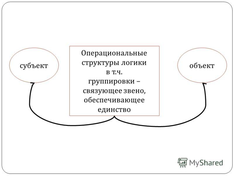 Операциональные структуры логики в т. ч. группировки – связующее звено, обеспечивающее единство субъектобъект