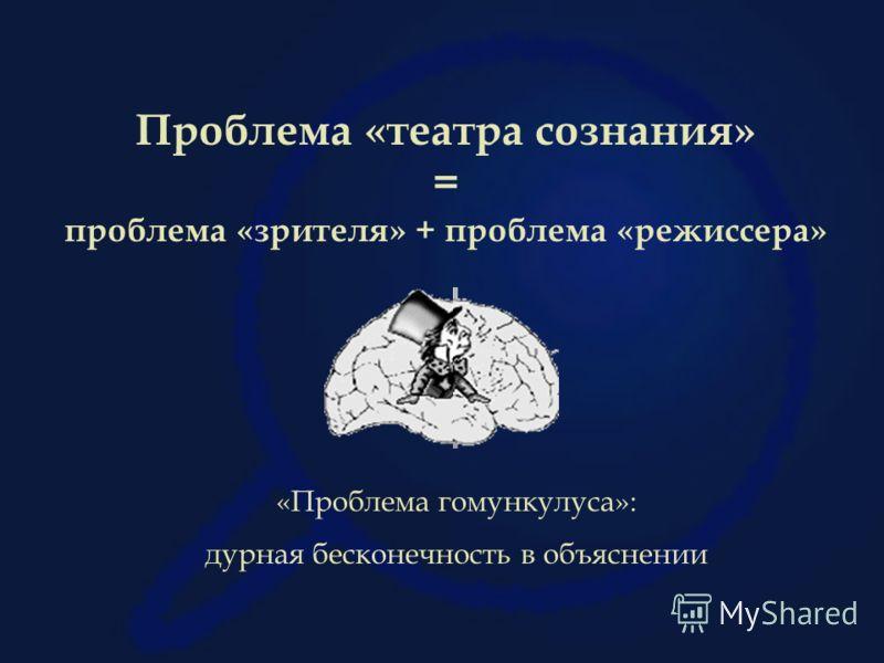 Проблема «театра сознания» = проблема «зрителя» + проблема «режиссера» «Проблема гомункулуса»: дурная бесконечность в объяснении