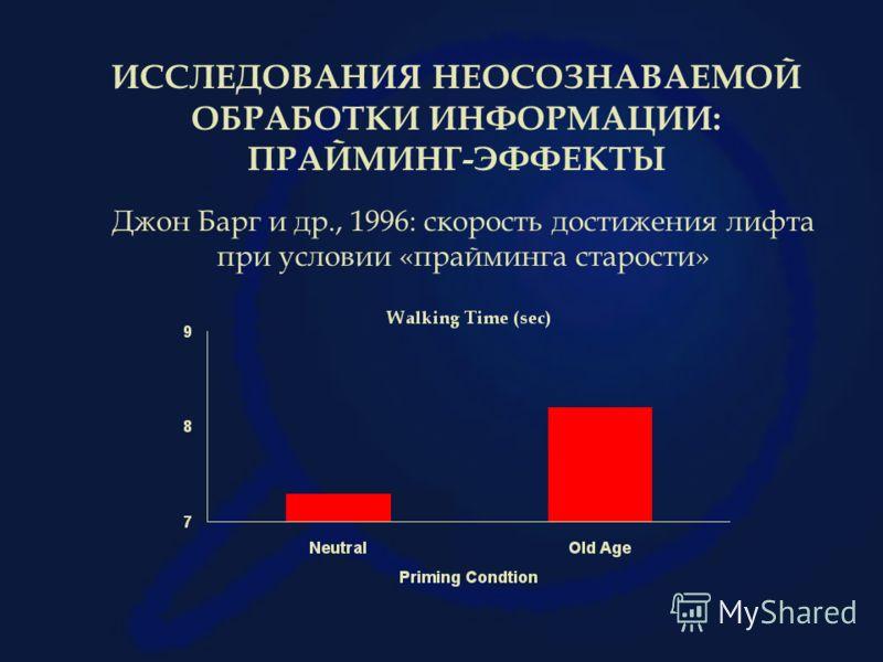 Джон Барг и др., 1996: скорость достижения лифта при условии «прайминга старости» ИССЛЕДОВАНИЯ НЕОСОЗНАВАЕМОЙ ОБРАБОТКИ ИНФОРМАЦИИ: ПРАЙМИНГ-ЭФФЕКТЫ
