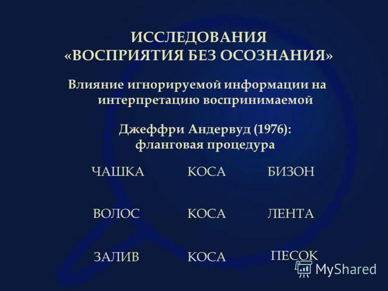 ИССЛЕДОВАНИЯ «ВОСПРИЯТИЯ БЕЗ ОСОЗНАНИЯ» Влияние игнорируемой информации на интерпретацию воспринимаемой Джеффри Андервуд (1976): фланговая процедура КОСАЛЕНТАВОЛОС КОСАЗАЛИВ ПЕСОК КОСАБИЗОНЧАШКА