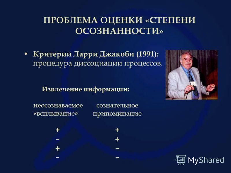 ПРОБЛЕМА ОЦЕНКИ «СТЕПЕНИ ОСОЗНАННОСТИ» Критерий Ларри Джакоби (1991): процедура диссоциации процессов. Извлечение информации: неосознаваемое сознательное «всплывание» припоминание + - + + - -