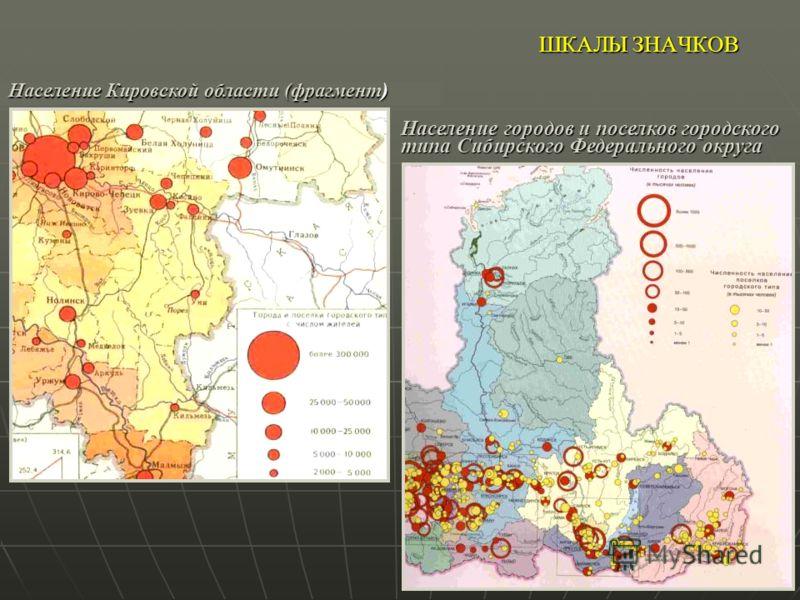 ШКАЛЫ ЗНАЧКОВ Население Кировской области (фрагмент) Население городов и поселков городского типа Сибирского Федерального округа