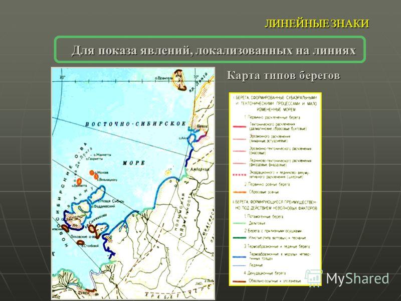 ЛИНЕЙНЫЕ ЗНАКИ Для показа явлений, локализованных на линиях Карта типов берегов