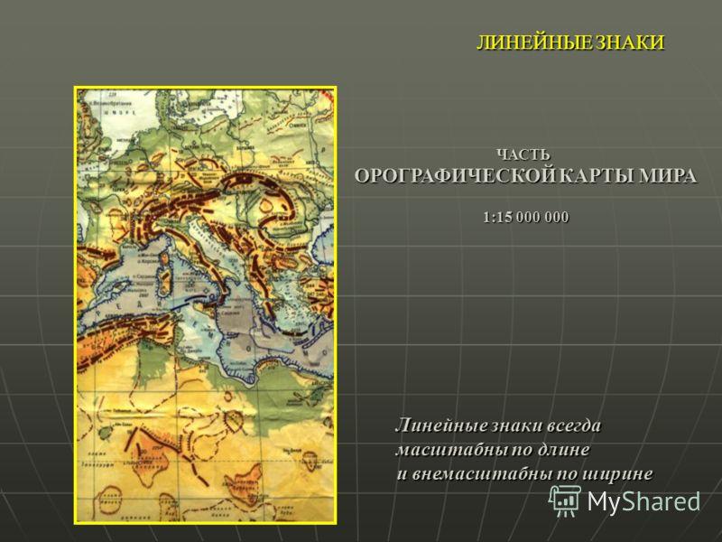 ЛИНЕЙНЫЕ ЗНАКИ ЧАСТЬ ОРОГРАФИЧЕСКОЙ КАРТЫ МИРА 1:15 000 000 Линейные знаки всегда масштабны по длине и внемасштабны по ширине