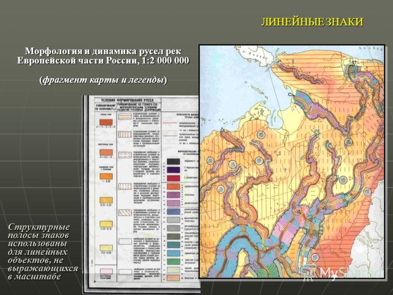 ЛИНЕЙНЫЕ ЗНАКИ Морфология и динамика русел рек Европейской части России, 1:2 000 000 (фрагмент карты и легенды) Структурные полосы знаков использованы для линейных объектов, не выражающихся в масштабе