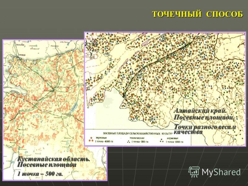 ТОЧЕЧНЫЙ СПОСОБ Кустанайская область. Посевные площади 1 точка – 500 га. Алтайский край. Посевные площади. Точки разного веса и качества