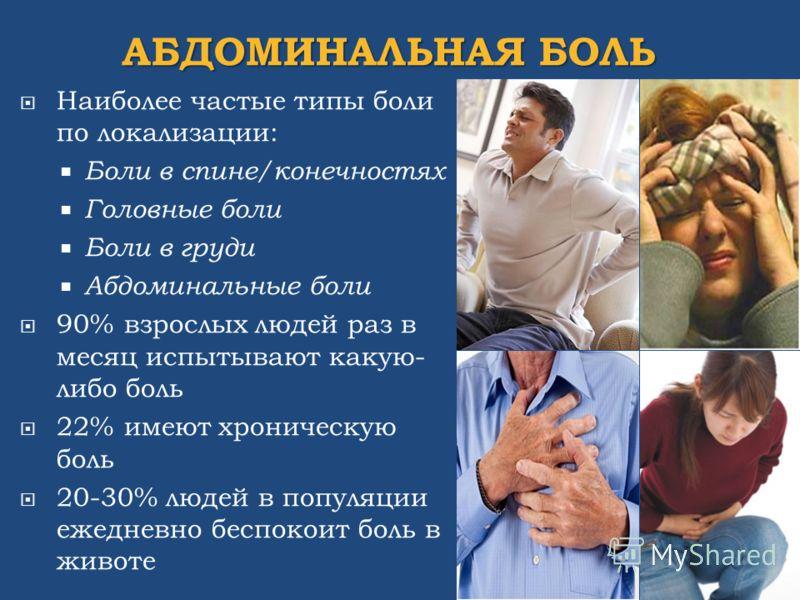 АБДОМИНАЛЬНАЯ БОЛЬ Наиболее частые типы боли по локализации: Боли в спине/конечностях Головные боли Боли в груди Абдоминальные боли 90% взрослых людей раз в месяц испытывают какую- либо боль 22% имеют хроническую боль 20-30% людей в популяции ежеднев