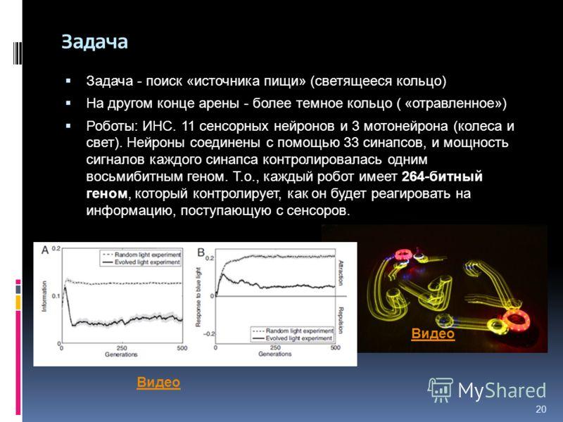 20 Задача Задача - поиск «источника пищи» (светящееся кольцо) На другом конце арены - более темное кольцо ( «отравленное») Роботы: ИНС. 11 сенсорных нейронов и 3 мотонейрона (колеса и свет). Нейроны соединены с помощью 33 синапсов, и мощность сигнало