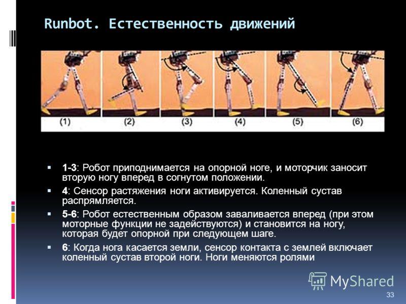 33 Runbot. Естественность движений 1-3: Робот приподнимается на опорной ноге, и моторчик заносит вторую ногу вперед в согнутом положении. 4: Сенсор растяжения ноги активируется. Коленный сустав распрямляется. 5-6: Робот естественным образом заваливае