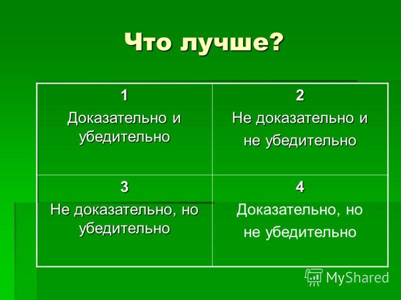 Что лучше? 1 Доказательно и убедительно 2 Не доказательно и не убедительно 3 Не доказательно, но убедительно 4 Доказательно, но не убедительно