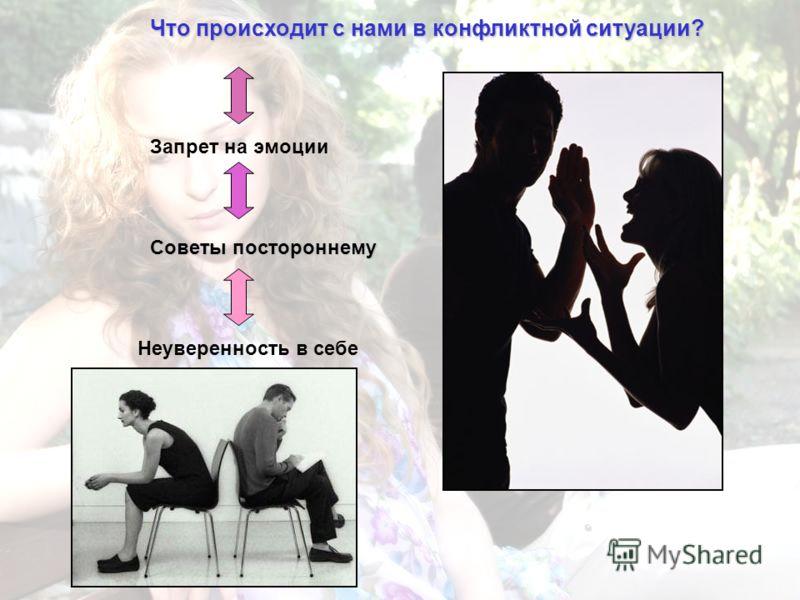 Что происходит с нами в конфликтной ситуации? Запрет на эмоции Советы постороннему Неуверенность в себе