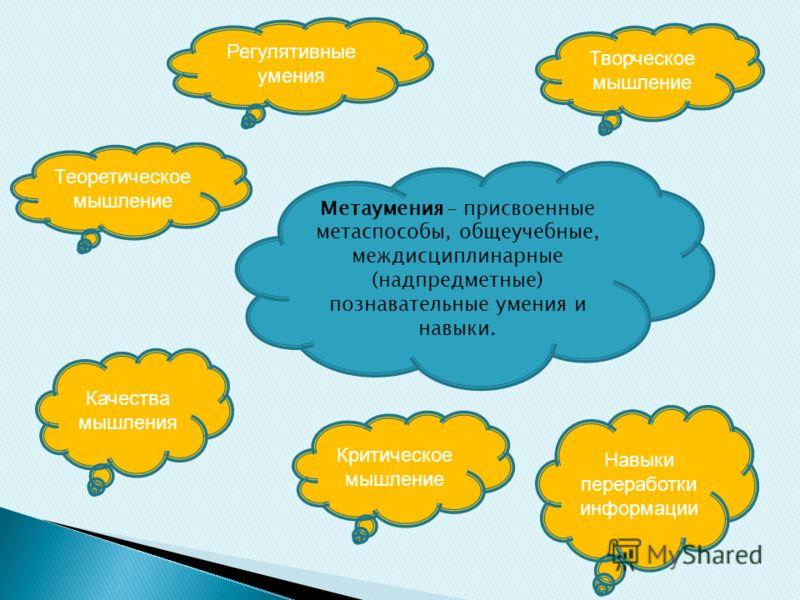 Метаумения – присвоенные метаспособы, общеучебные, междисциплинарные (надпредметные) познавательные умения и навыки. Теоретическое мышление Творческое мышление Качества мышления Навыки переработки информации Критическое мышление Регулятивные умения