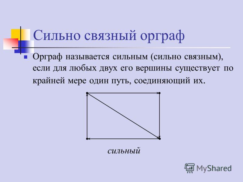 Сильно связный орграф Орграф называется сильным (сильно связным), если для любых двух его вершины существует по крайней мере один путь, соединяющий их. сильный