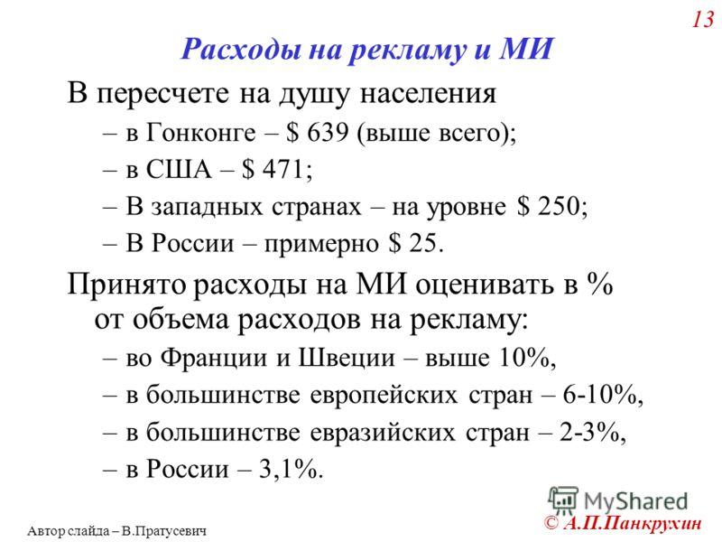 © А.П.Панкрухин 13 Расходы на рекламу и МИ В пересчете на душу населения –в Гонконге – $ 639 (выше всего); –в США – $ 471; –В западных странах – на уровне $ 250; –В России – примерно $ 25. Принято расходы на МИ оценивать в % от объема расходов на рек