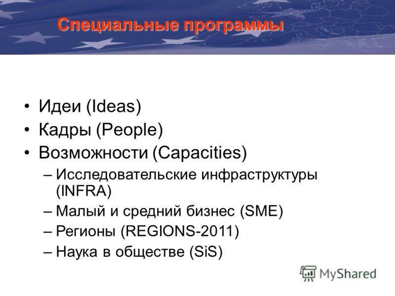 Специальные программы Идеи (Ideas) Кадры (People) Возможности (Capacities) –Исследовательские инфраструктуры (INFRA) –Малый и средний бизнес (SME) –Регионы (REGIONS-2011) –Наука в обществе (SiS)