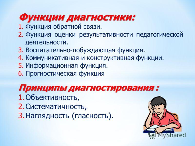 Функции диагностики: 1.Функция обратной связи. 2.Функция оценки результативности педагогической деятельности. 3.Воспитательно-побуждающая функция. 4.Коммуникативная и конструктивная функции. 5.Информационная функция. 6.Прогностическая функция. Принци