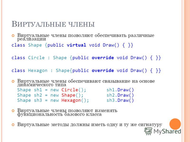 В ИРТУАЛЬНЫЕ ЧЛЕНЫ Виртуальные члены позволяют обеспечивать различные реализации class Shape {public virtual void Draw() { }} class Circle : Shape {public override void Draw() { }} class Hexagon : Shape{public override void Draw() { }} Виртуальные чл