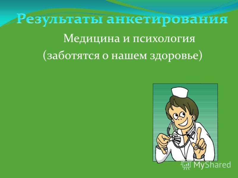 Медицина и психология (заботятся о нашем здоровье)