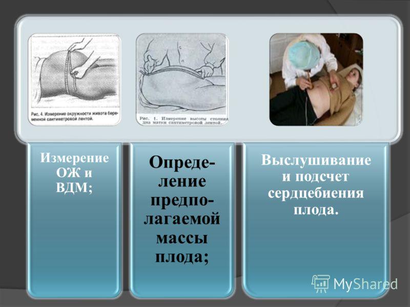 Измерение ОЖ и ВДМ; Опреде- ление предпо- лагаемой массы плода; Выслушивание и подсчет сердцебиения плода.