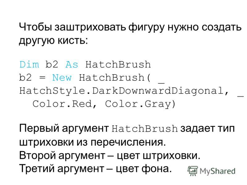 Чтобы заштриховать фигуру нужно создать другую кисть: Dim b2 As HatchBrush b2 = New HatchBrush( _ HatchStyle.DarkDownwardDiagonal, _ Color.Red, Color.Gray) Первый аргумент HatchBrush задает тип штриховки из перечисления. Второй аргумент – цвет штрихо